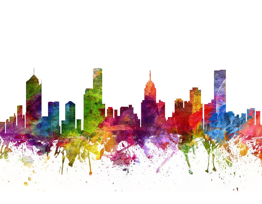 Melbourne Drawing - Melbourne Australia Cityscape 06 by Aged Pixel