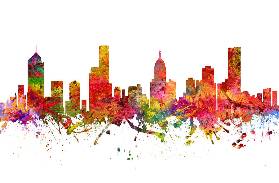 Melbourne Drawing - Melbourne Australia Cityscape 08 by Aged Pixel