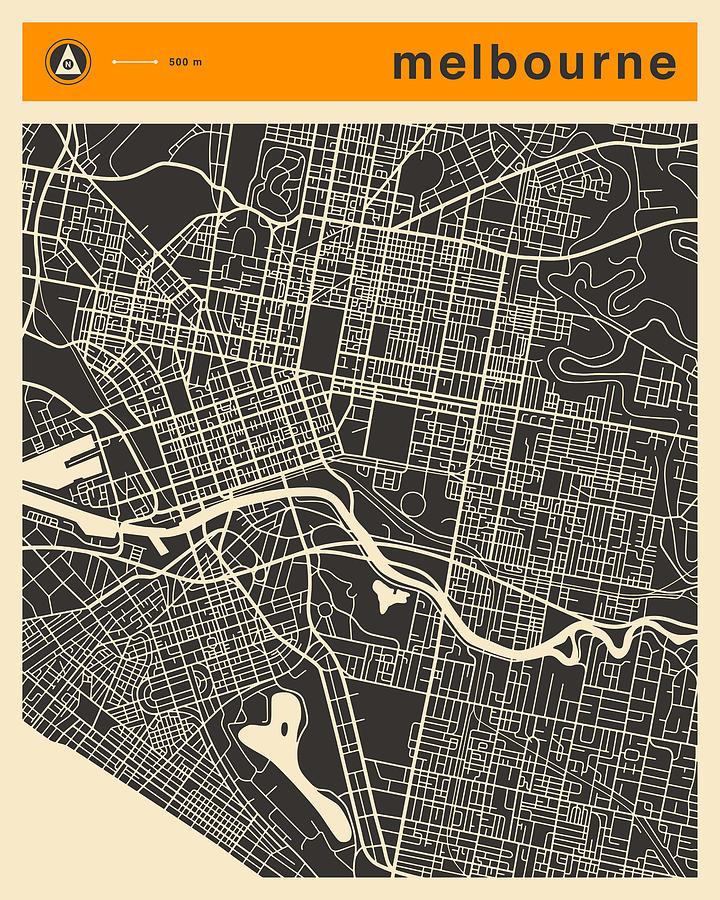 Melbourne Digital Art - Melbourne Map by Jazzberry Blue