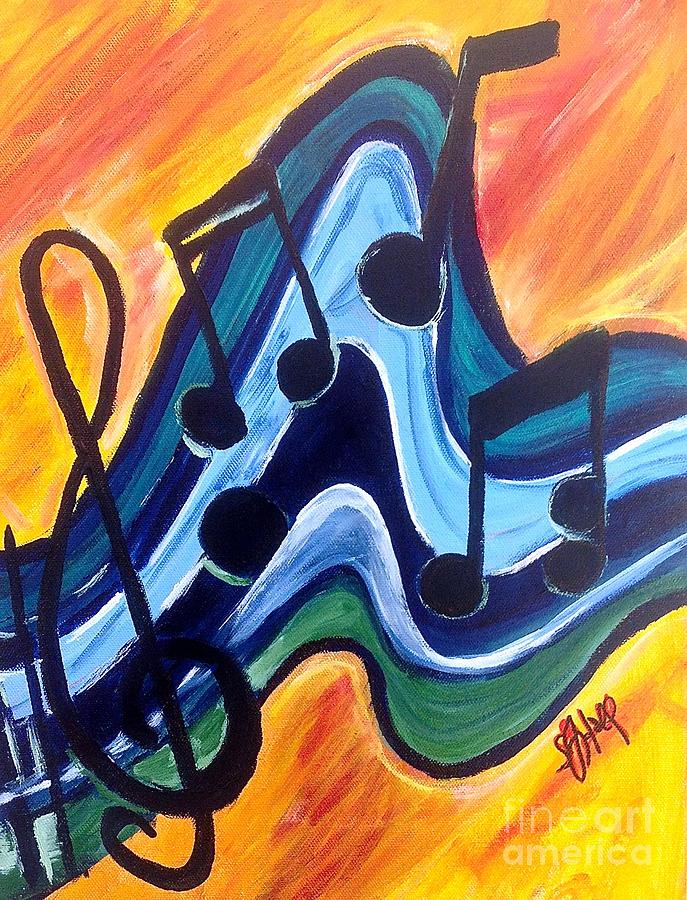 Music Notes Painting - Melodic Flow by Sheila J Hall