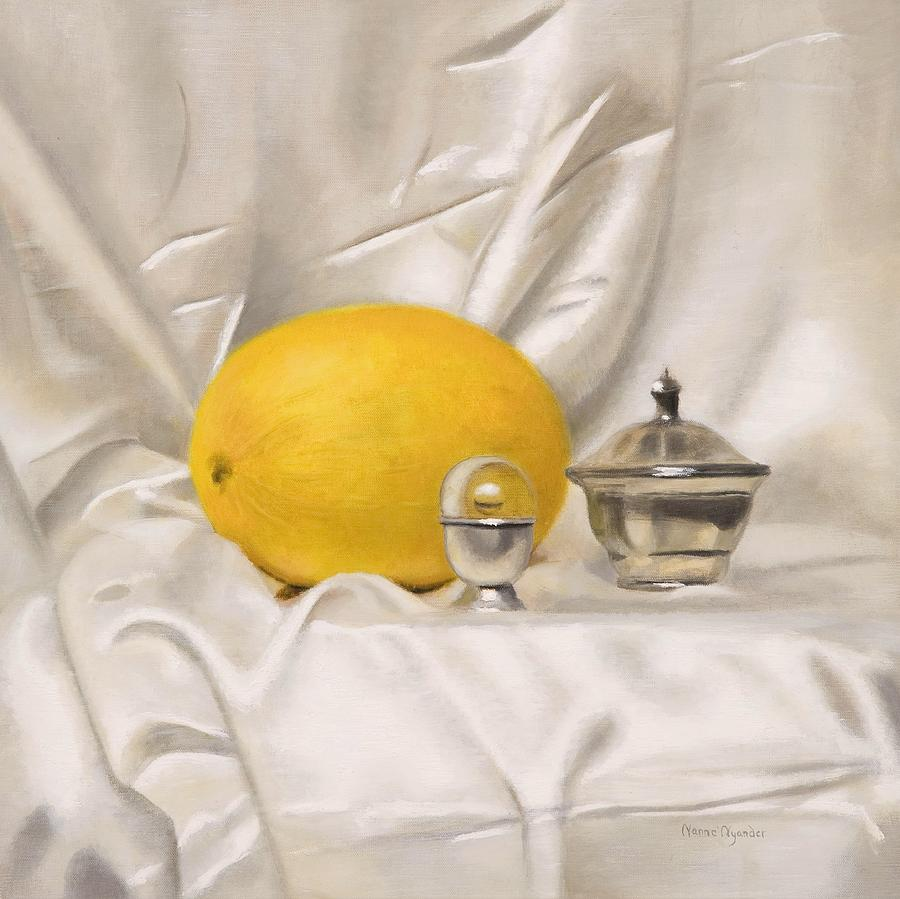 Melon Painting - Melon On White Silk by Nanne Nyander