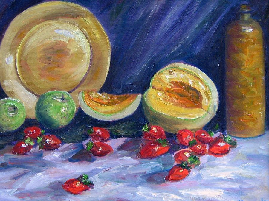 Still Life Painting - Melons With Strawberries by Richard Nowak
