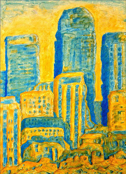 Buildings Painting - Meltdown - Canary Wharf by Keith  Webb