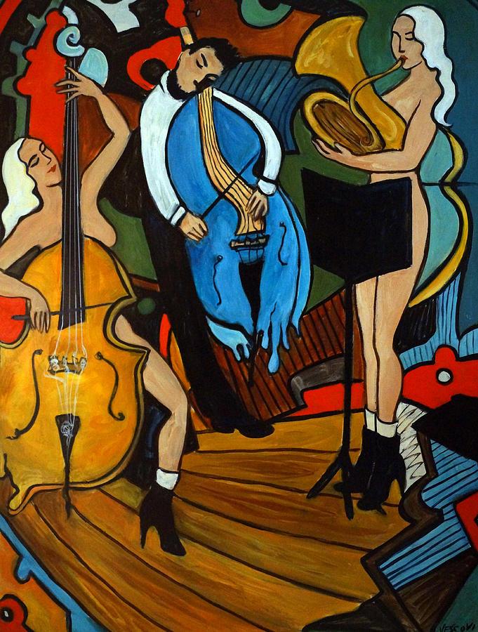 Cello Painting - Melting Jazz by Valerie Vescovi