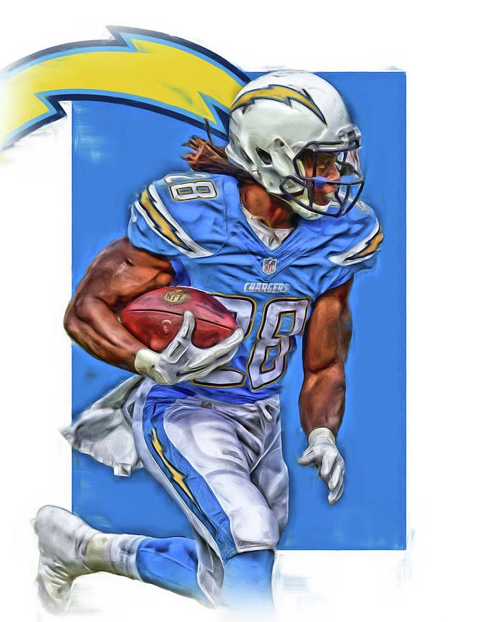 Melvin Gordon San Diego Chargers Oil Art Mixed Media By
