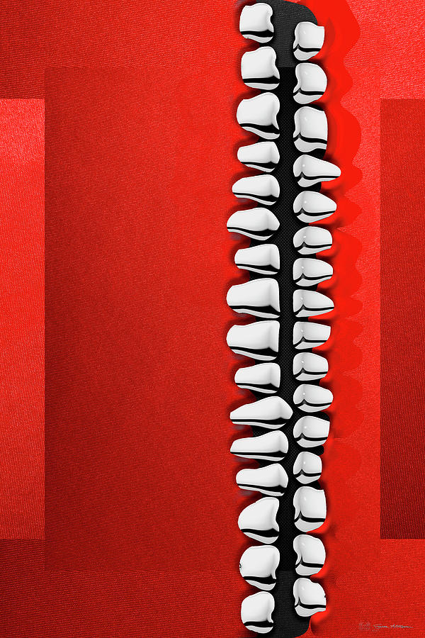 Teeth Digital Art - Memento Mori - Silver Human Teeth Over Red And Black Canvas by Serge Averbukh