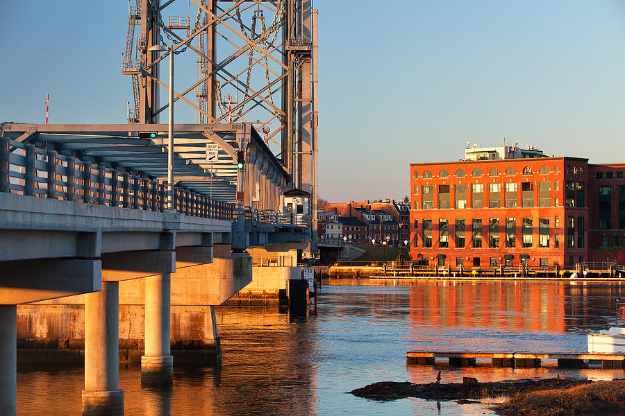 Portsmouth Photograph - Memorial Bridge At Sunrise by Eric Gendron