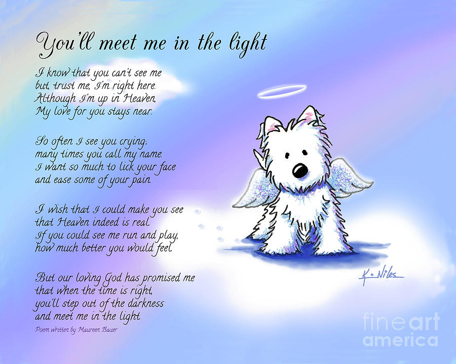 Westie Mixed Media - Memorial Print Custom Size by Kim Niles