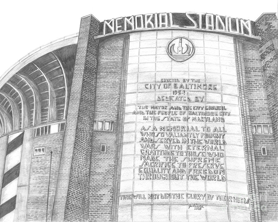 Baltimore Orieols Stadium Drawing - Memorial Stadium by Juliana Dube