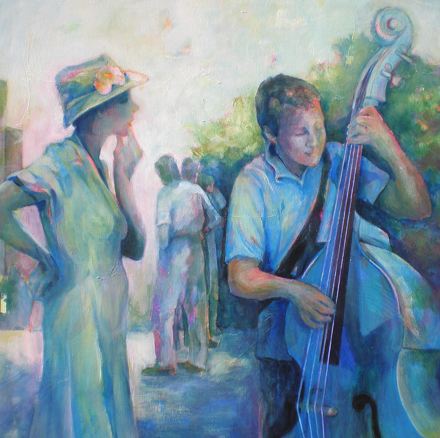 Music Painting - Memories -  Woman Is Intrigued By Musician.  by Susanne Clark