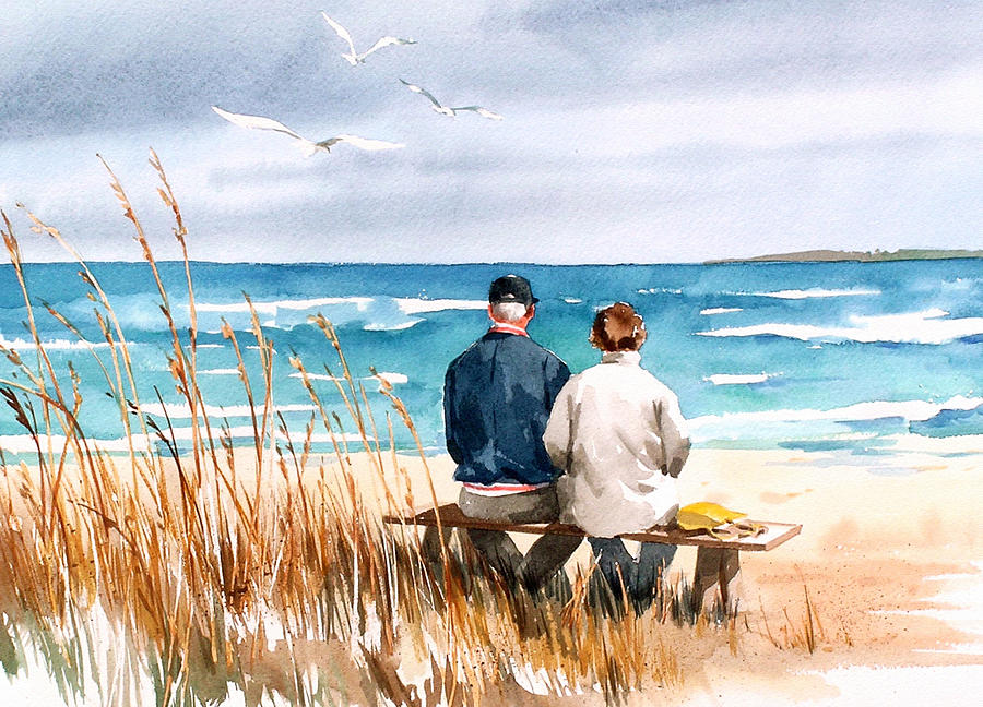 Couple On Beach Painting - Memories by Art Scholz
