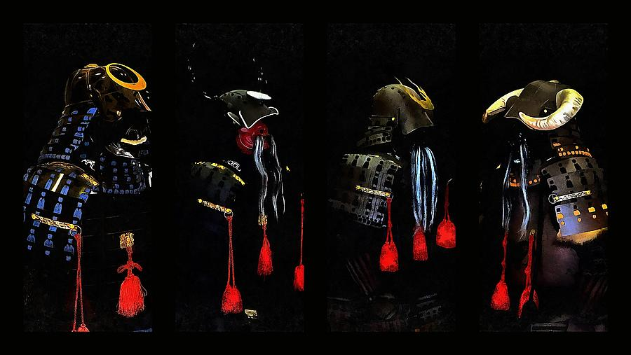 Samurai Helmet Photograph - Memories Of Samurai Black Armour Collage by Dorothy Berry-Lound
