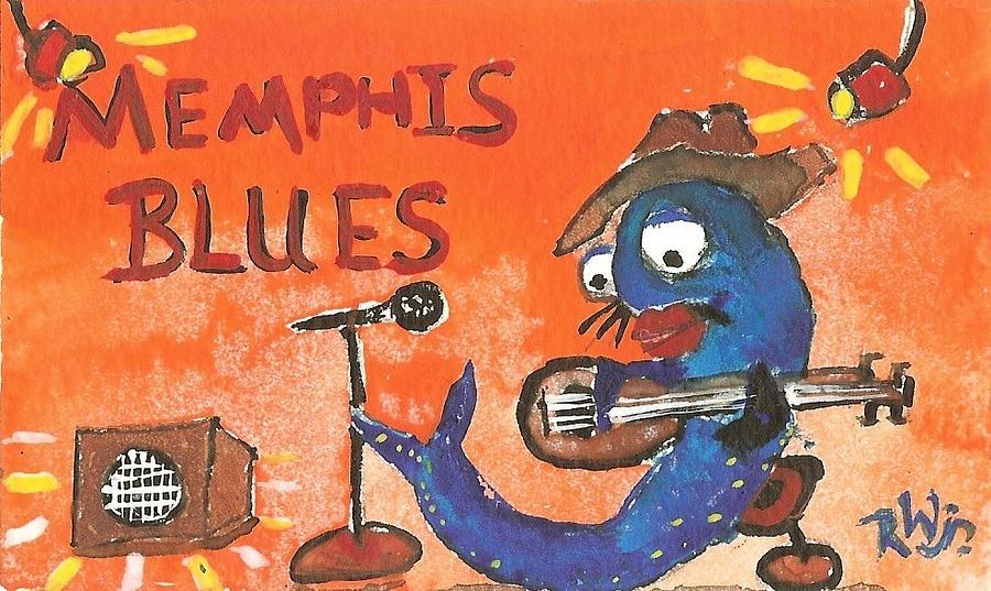 Blue Cat Painting - Memphis Blues by Robert Wolverton Jr