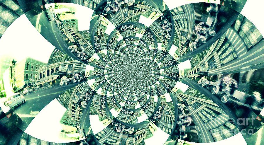 Abstract Digital Art - Memphis Street Scene Green by Karen Francis