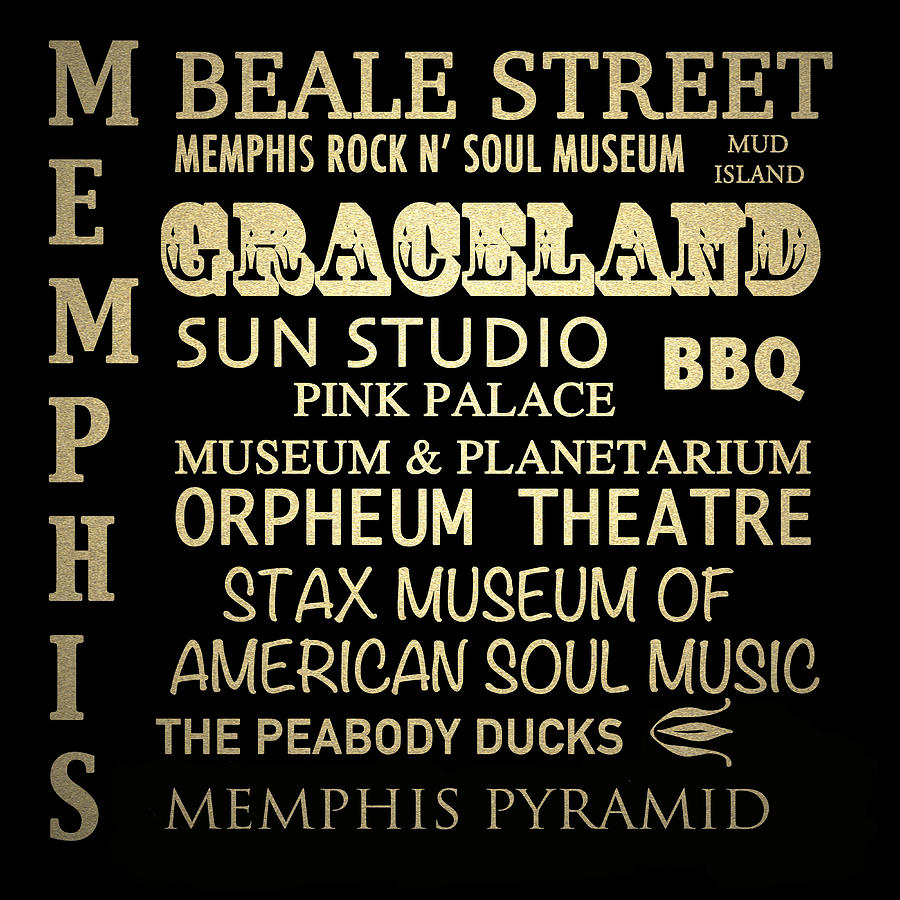 Memphis Digital Art - Memphis Tennessee Famous Landmarks by Patricia Lintner