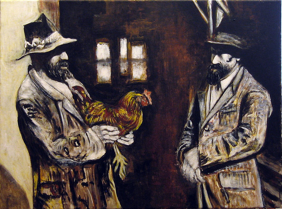 Figurative Painting - Men And Hen After A Photograph Shown On Pbs  by Vladimir Kezerashvili