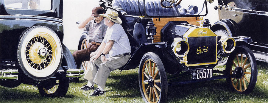 Antique Cars Painting - Men And Their Toys by Denny Bond