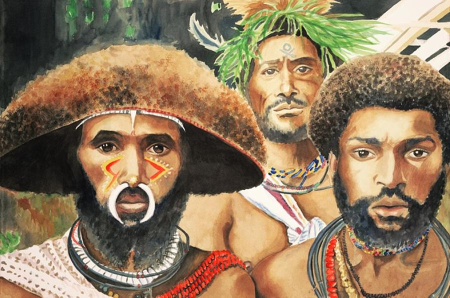 Brown Painting - Men From New Guinea by Judy Swerlick