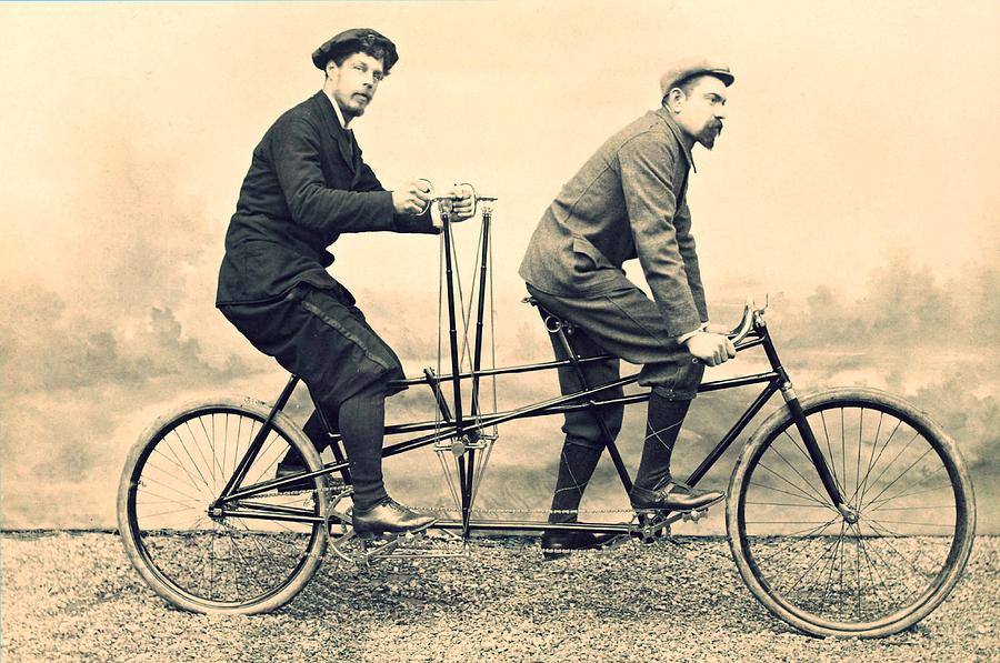 Vintage Bicycle Photograph - Men On Dual Bicycle, Cca 1900 by Vincent Monozlay