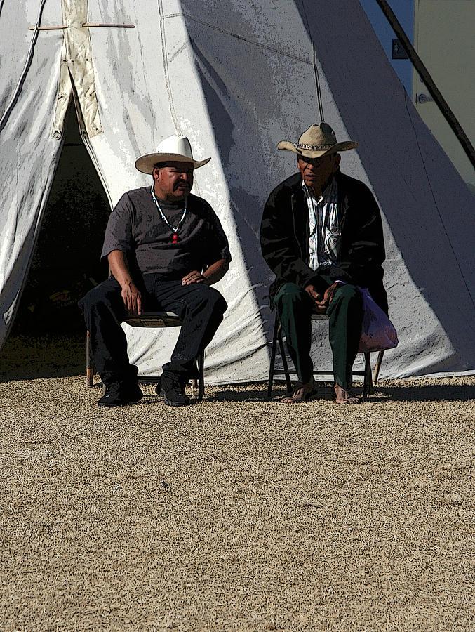 Pow Wow Photograph - Men Talking by Joe Kozlowski