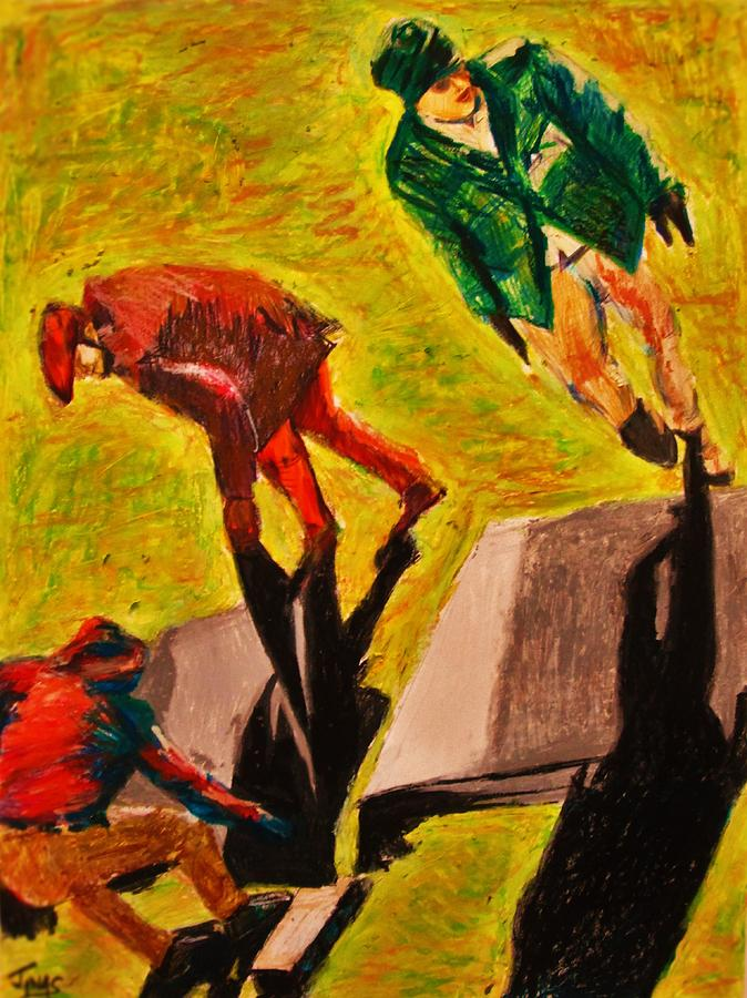Men Working Painting by B Janas
