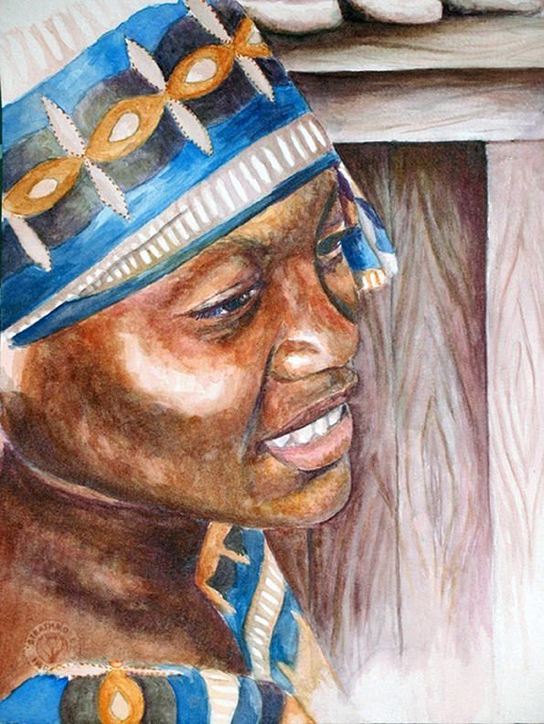 African Woman Painting - Mende Woman  by Kate Westfall