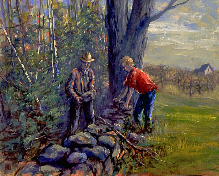 Poem Painting - Mending Wall by Ken Fiery