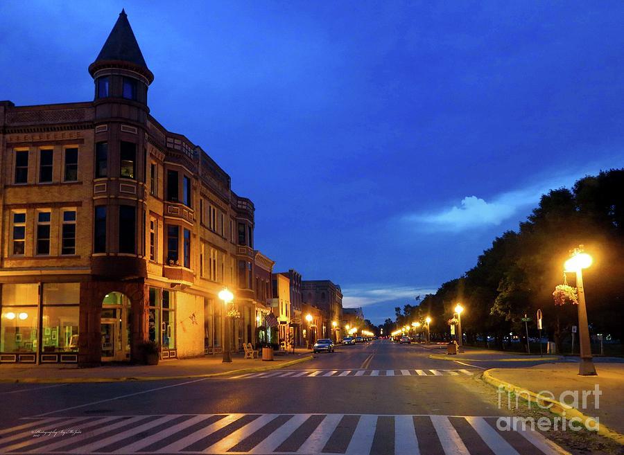 Menominee Michigan Night Lights by Ms Judi