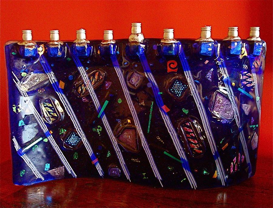 Fused Glass Glass Art - Menorah Blue by Cydney Morel-Corton