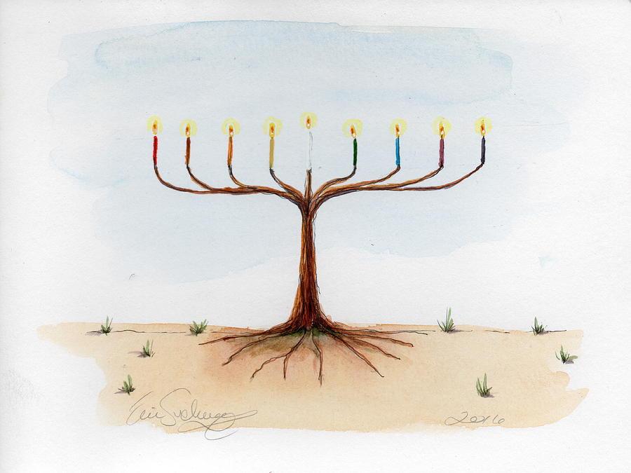 Jewish Painting - Menorah Tree by Eric Suchman
