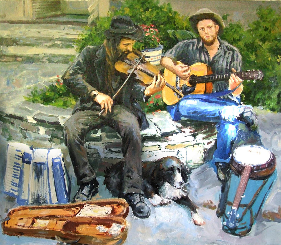 Musicians Painting - Mens Best Friend by Conor McGuire