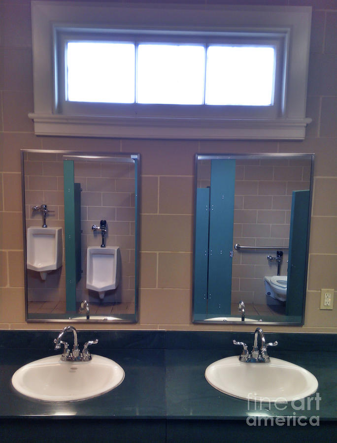 Mens Public Toilet Washroom Sinks Mirrors Urinals Photograph by ...