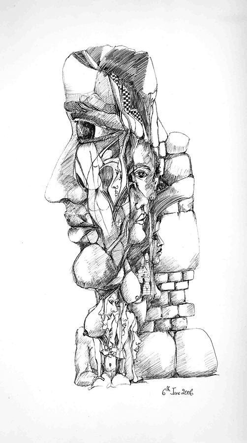 Forms Drawing - Mental Images 1 by Padamvir Singh