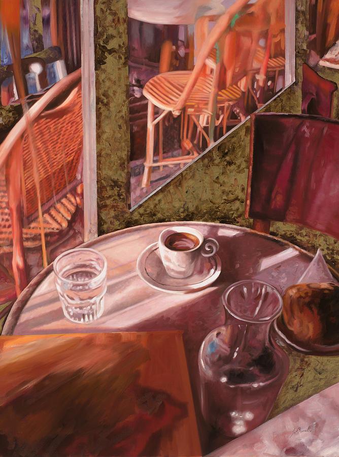 Caffe Painting - Mentre Ti Aspetto by Guido Borelli