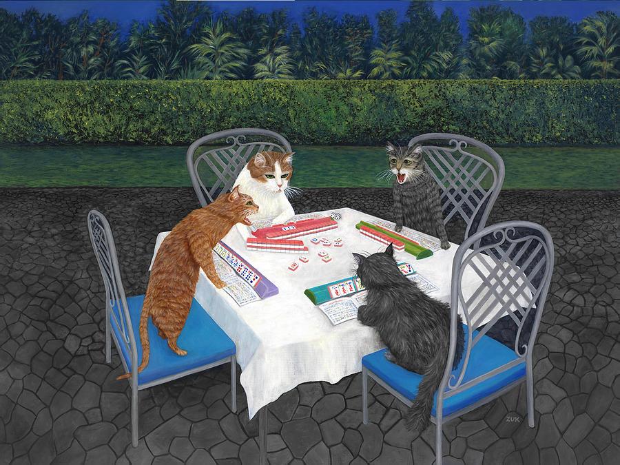 Cats Painting - Meowjongg - Cats playing Mahjongg by Karen Zuk Rosenblatt