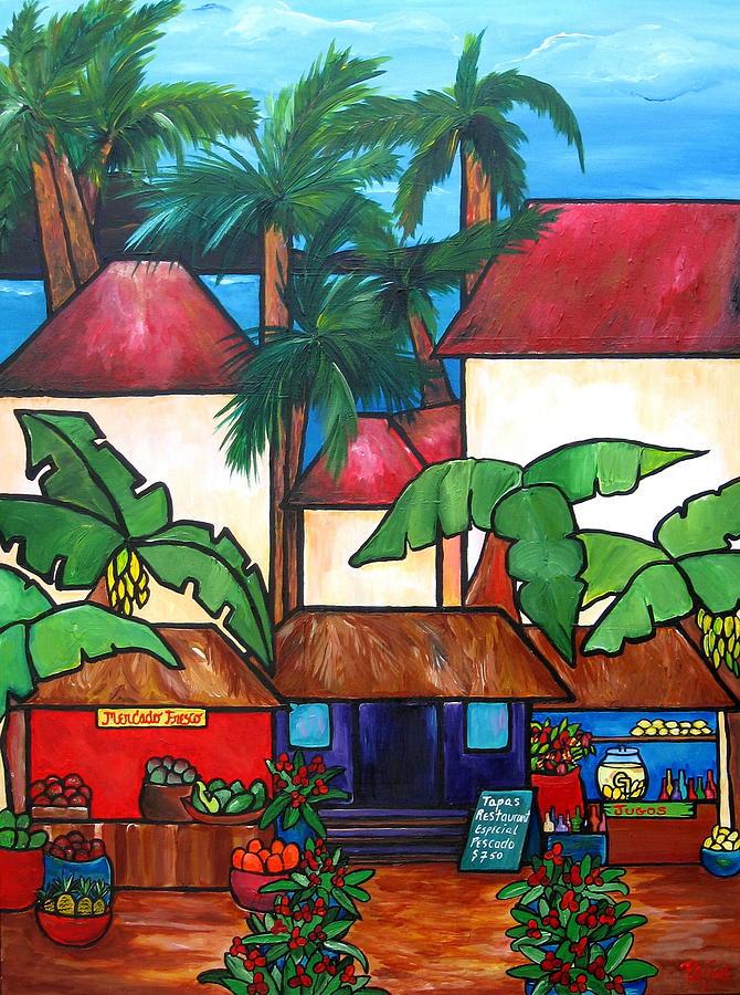 Puerto Rico Painting - Mercado En Puerto Rico by Patti Schermerhorn