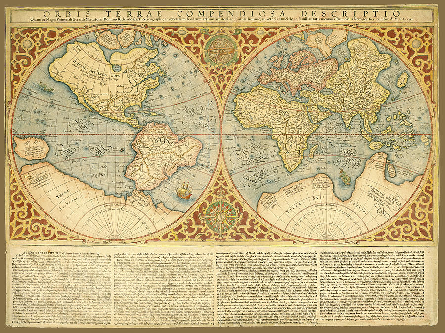 1587 World Map.Mercator 1587 World Map With Text Photograph By C H Apperson