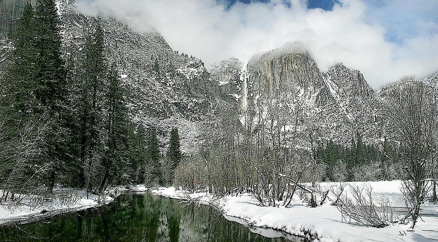 Yosemite Photograph - Merced Yosemite Falls Winter California Landscape Art by Larry Darnell