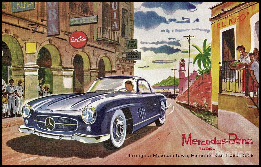 Poster Digital Art - Mercedes 300 Sl by Steven Parker