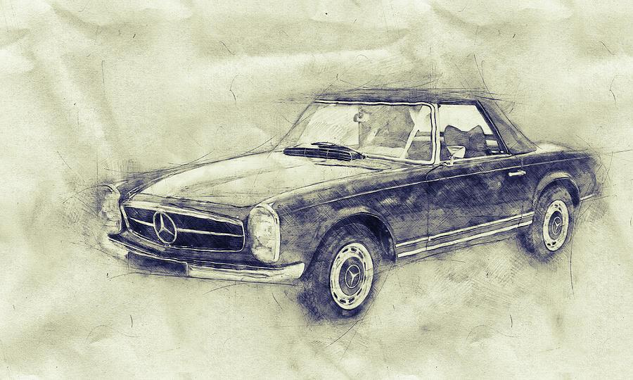 Mercedes-benz 280sl Roadster - 1967 - Automotive Art - Car Posters Mixed Media