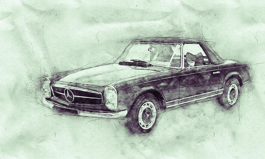 Benz Mixed Media - Mercedes-Benz 280SL Roadster 3 - 1967 - Automotive Art - Car Posters by Studio Grafiikka
