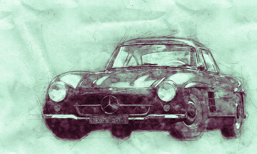Mercedes-benz 300 Sl 3 - Grand Tourer - Roadster - Automotive Art - Car Posters Mixed Media