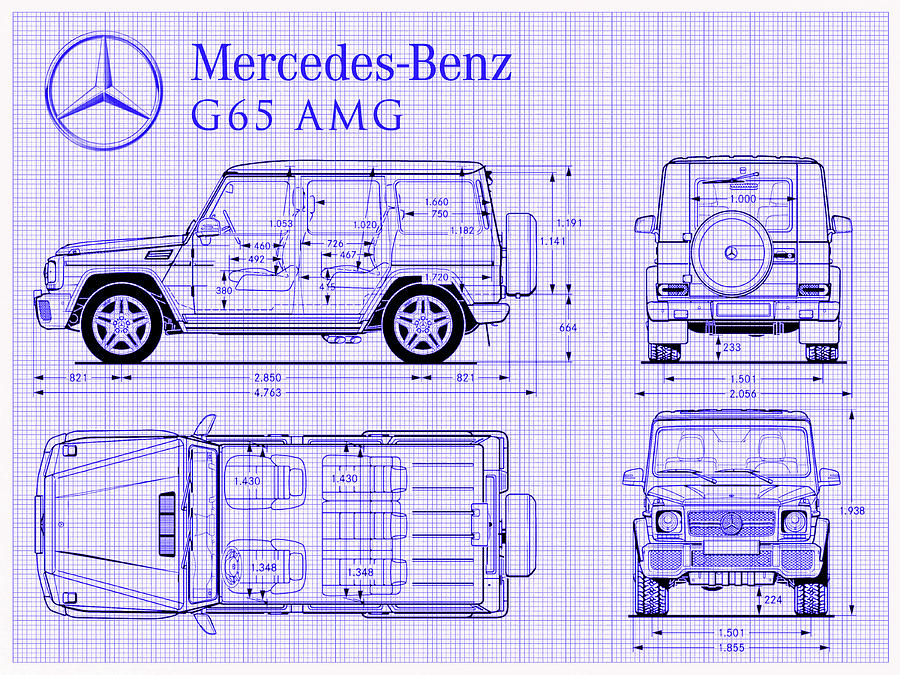 Mercedes benz g 65 amg blueprint digital art by jon neidert mercedes digital art mercedes benz g 65 amg blueprint by jon neidert malvernweather Choice Image