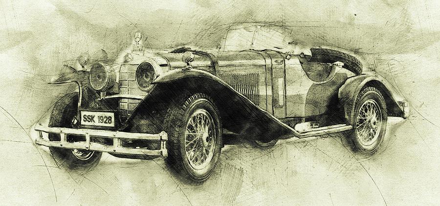 Mercedes-benz Ssk 1 - 1928 - Automotive Art - Car Posters Mixed Media