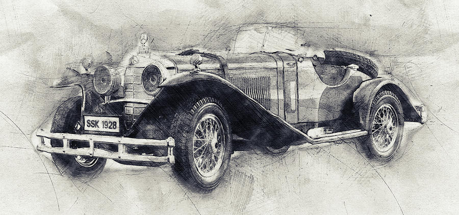 Mercedes-benz Ssk - 1928 - Automotive Art - Car Posters Mixed Media