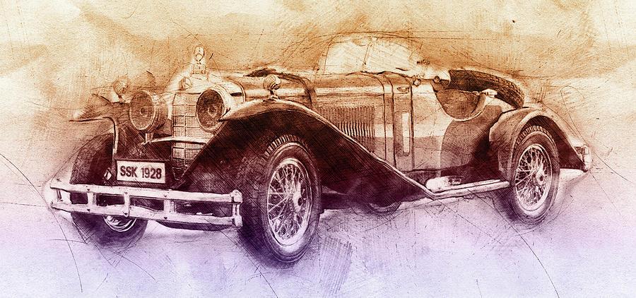 Mercedes Benz Ssk Mixed Media - Mercedes-benz Ssk 2 - 1928 - Automotive Art - Car Posters by Studio Grafiikka