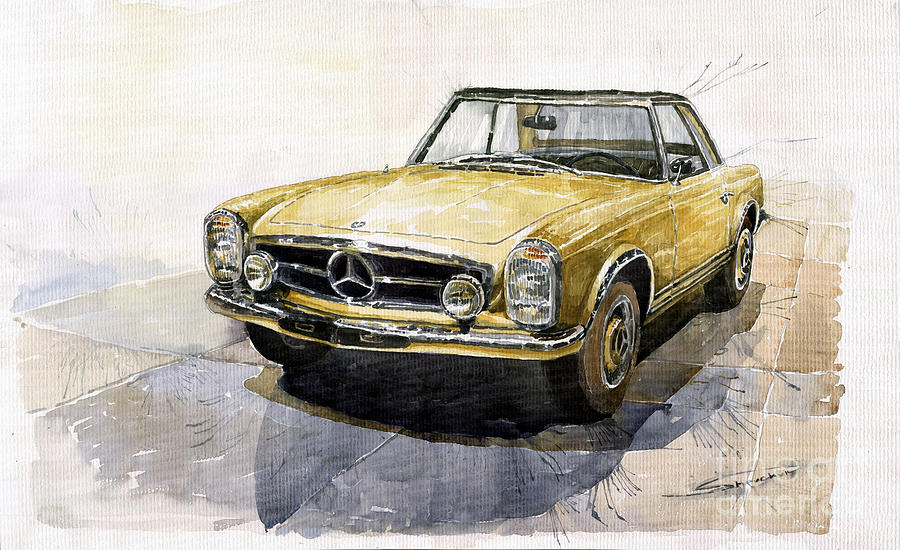 Mercedes benz w113 pagoda painting by yuriy shevchuk for Mercedes benz wall posters