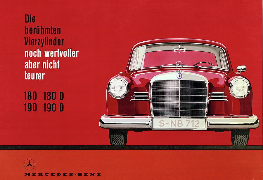 Mercedes Vintage Poster - Mercedes Benz - Mercedes Car Print - Car ...