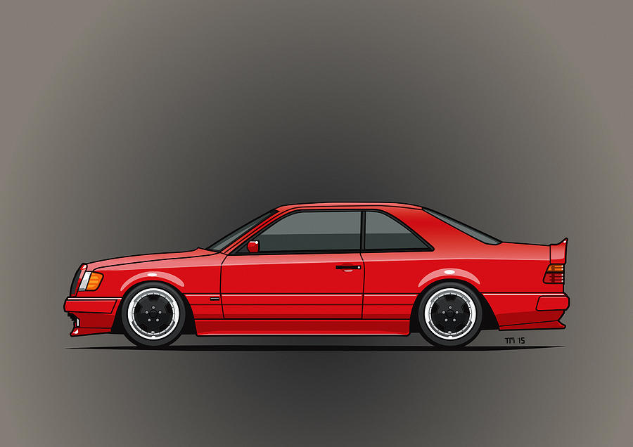 mercedes w124 300e red amg hammer widebody coupe mixed media by monkey crisis on mars. Black Bedroom Furniture Sets. Home Design Ideas
