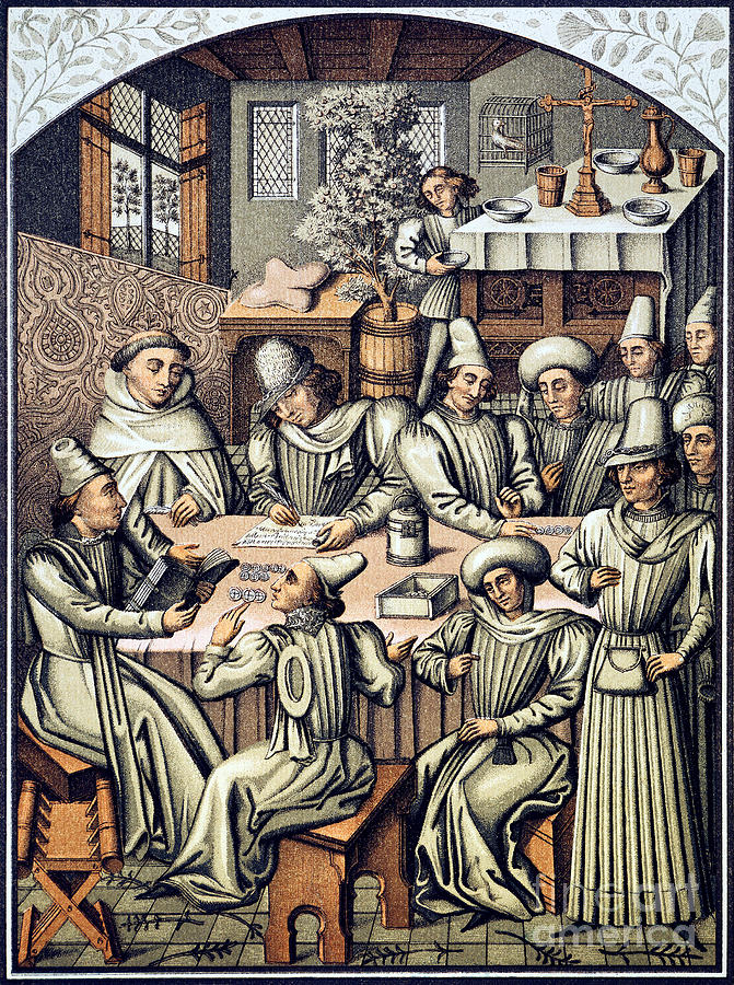 15th Century Photograph - Merchants Paying Taxes by Granger